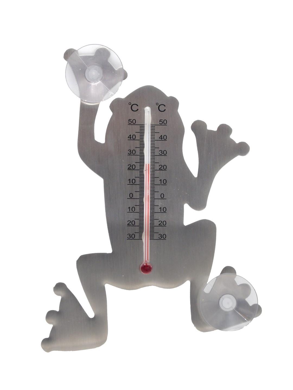 Muurthermometer metaal met zuignappen kikker 16x12x1 cm