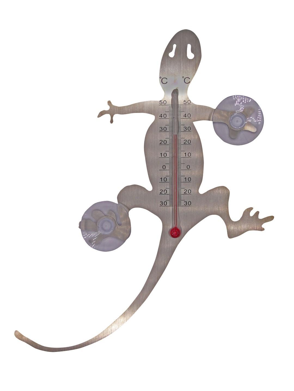 Muurthermometer metaal met zuignappen salamander 20x16x1 cm