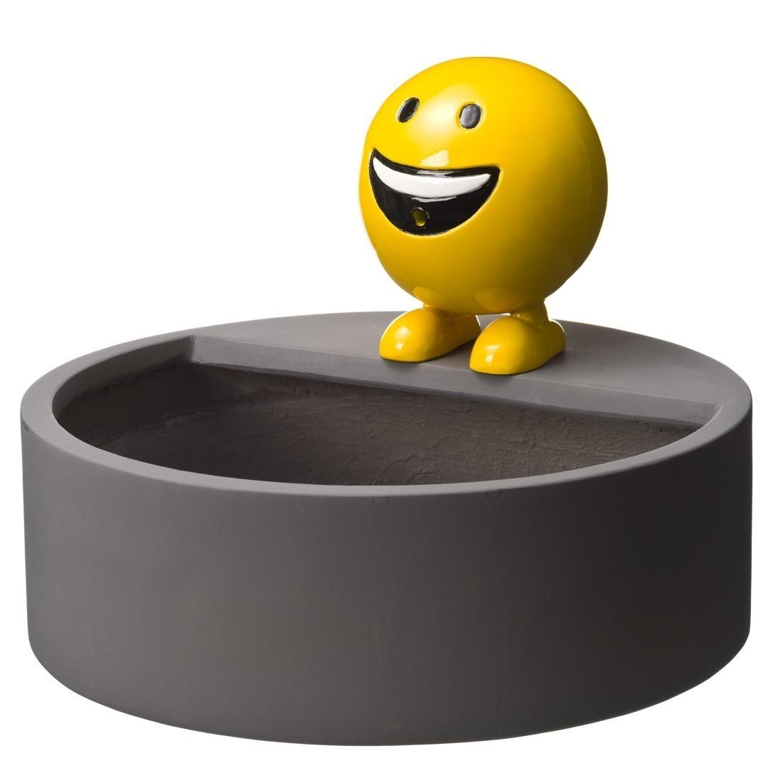 AA Be Happy spuitfiguur polystone geel set incl.bak blauw-grijs H15 x diameter 45 cm en pomp 350l/h
