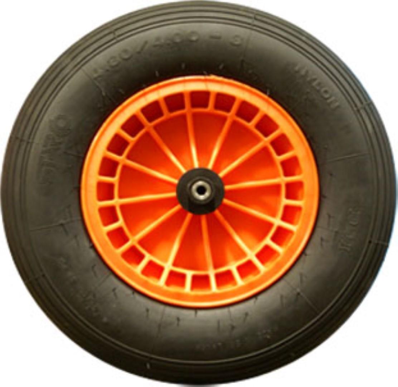 Luchtbandwiel doorsnee 40 band 10 cm kunststof velg oranje