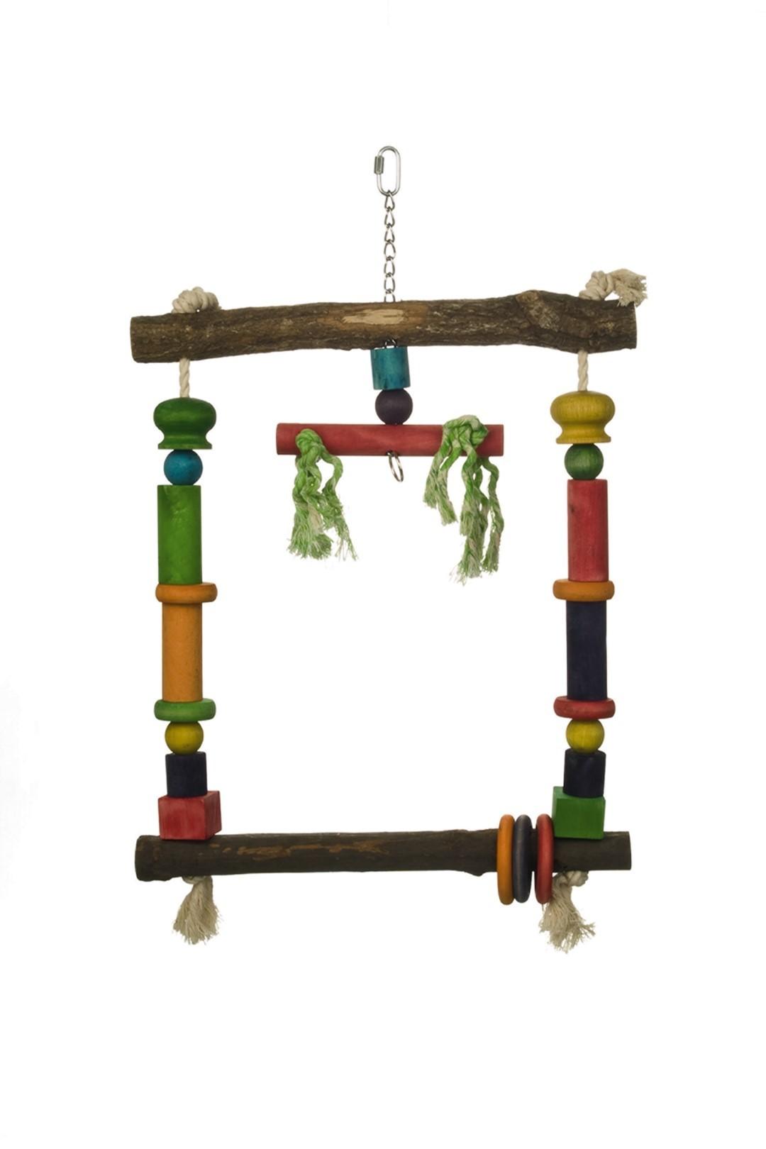 Houten papegaaienschommel 35x56