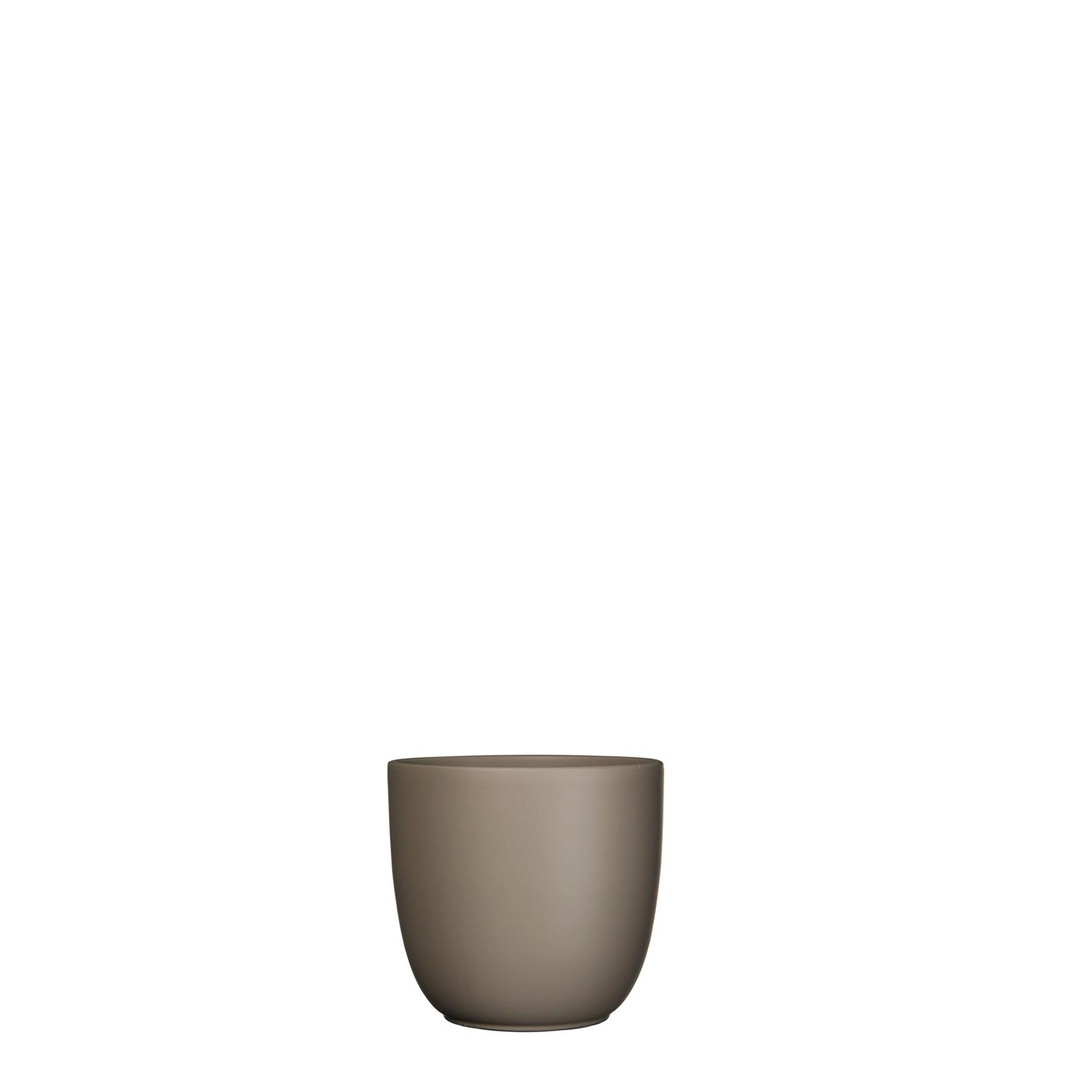 Bloempot Pot rond es/9 tusca 9 x 10 cm taupe mat Mica