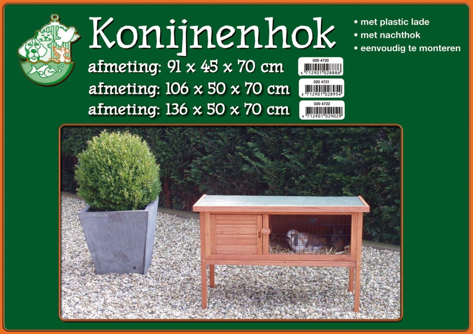 Konijnenhok bouwpakket met plastic lade bruin 91 cm