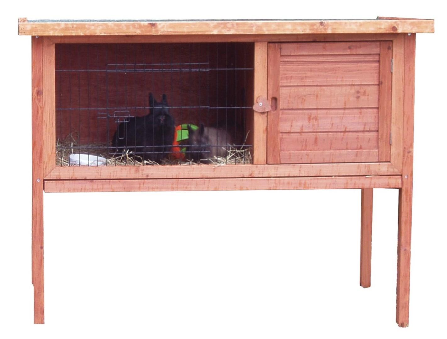 Konijnenhok bouwpakket met plastic lade en klapbaar dak 117 cm bruin
