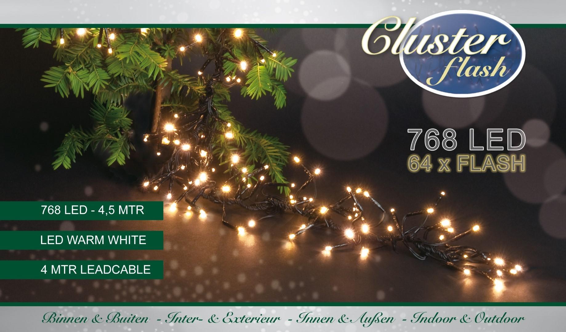 Clusterverlichting met knipperlampjes 768l/4,5m led warm wit met 64l knipperend