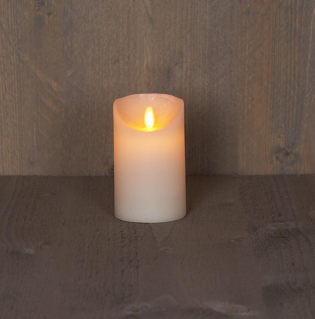 Batterijverlichting kaars wax rustiek bewegende vlam 7,5x12,5cm ivoor 3xaaa/timer