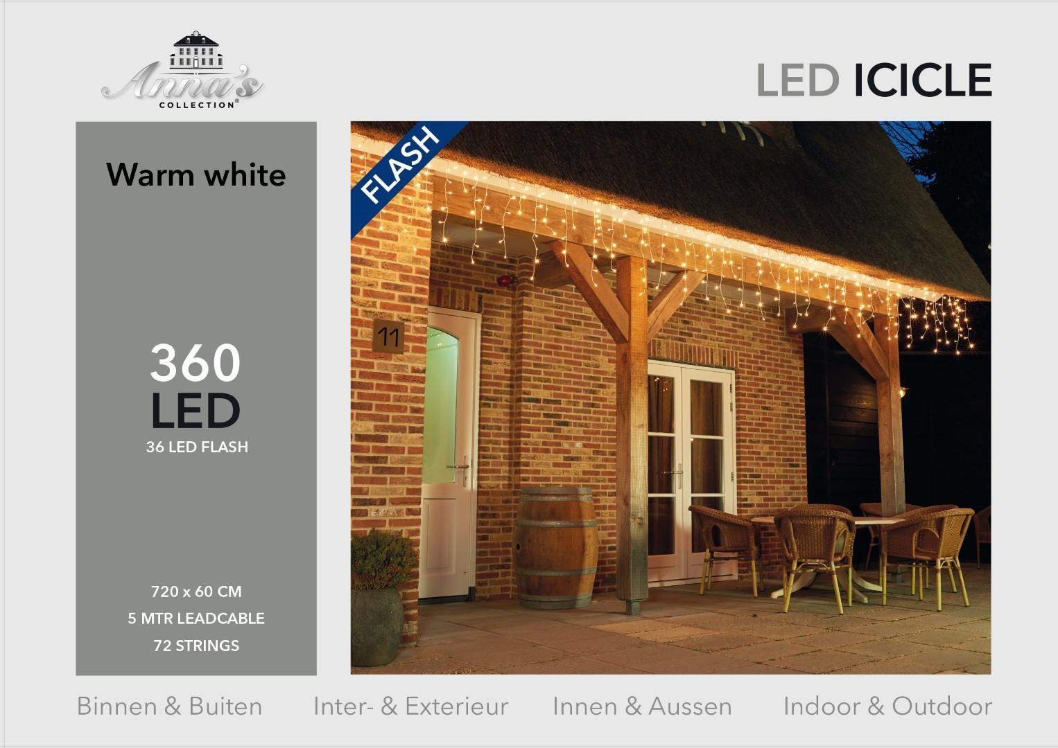 Icicle lights 360l/720x60cm 36l flash led warm wit - 5m aanloopsnoer transparant - 31v/ip44 Anna's c