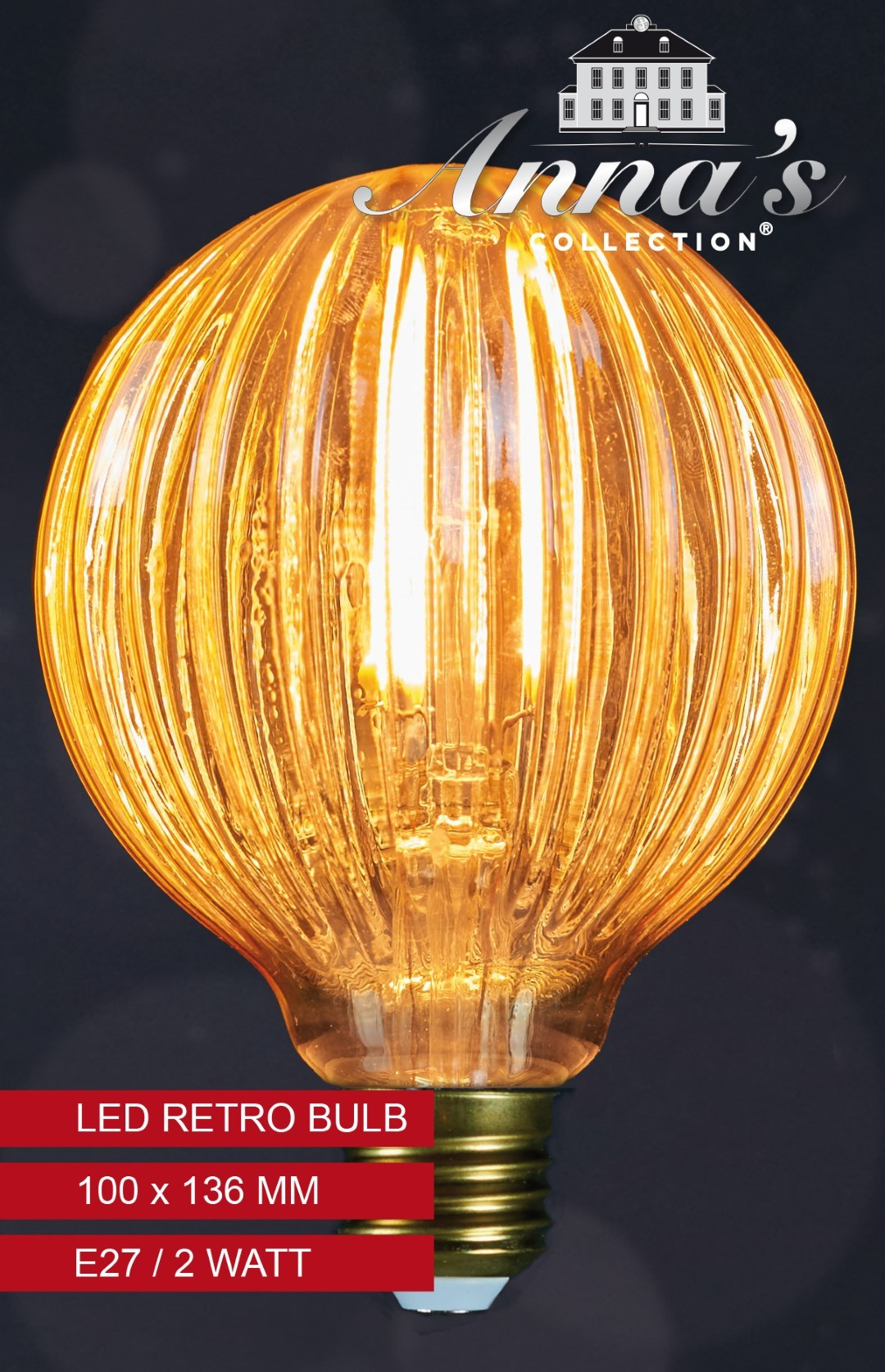 Led retro lamp pompoen 100x136mm 2w/e27 Anna's collection