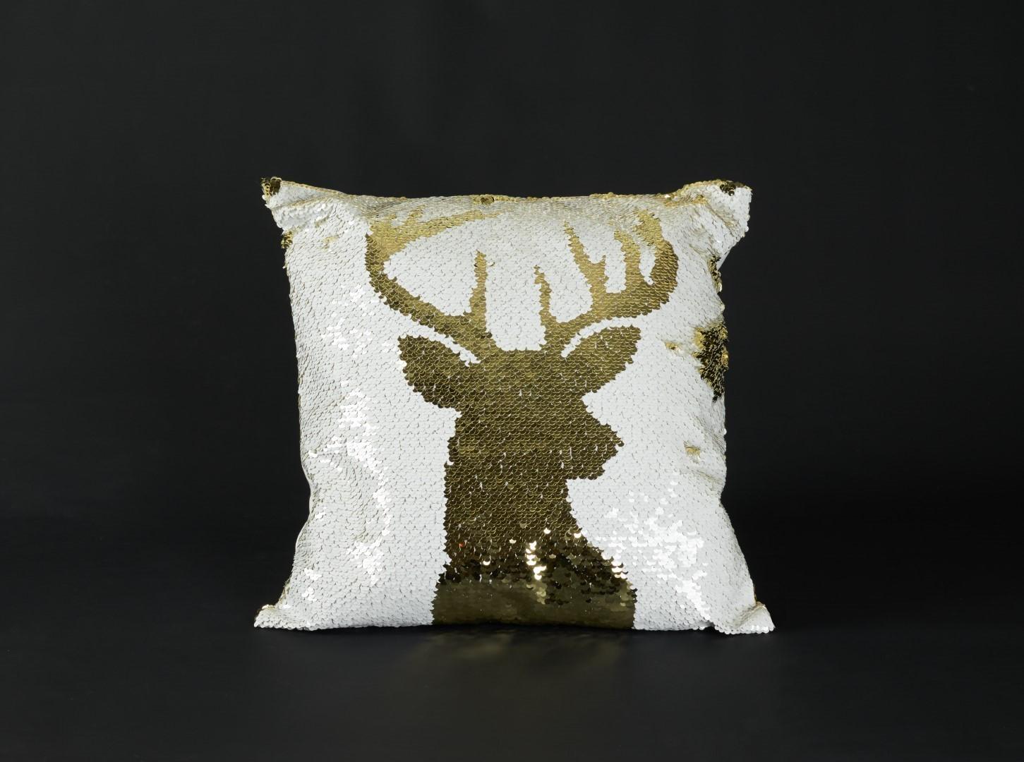 Kussen pailetten wit goud rendier Anna's Collection