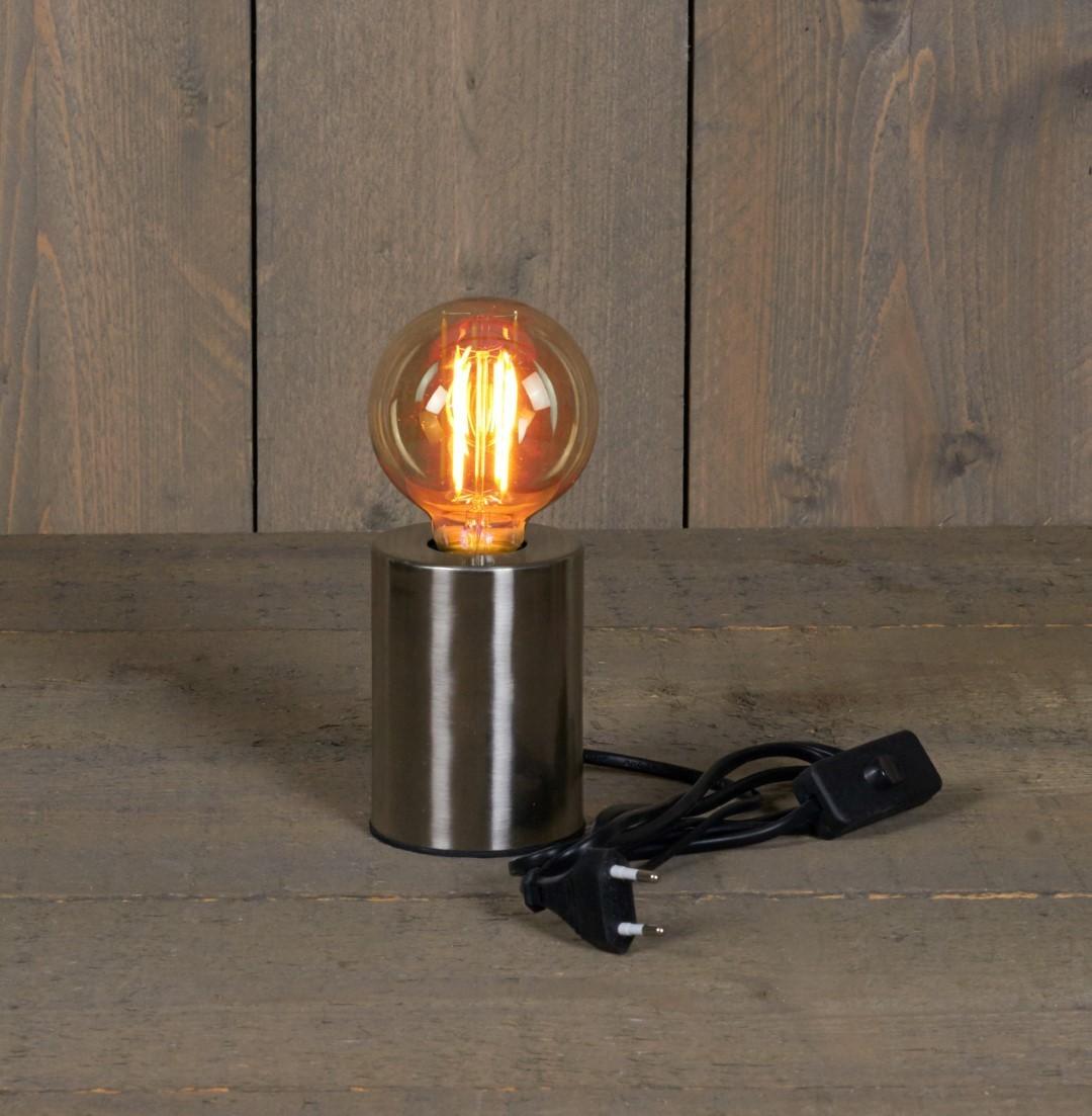 Tafellamp zilver 7,5x10 cm e27 1,5 m snoer