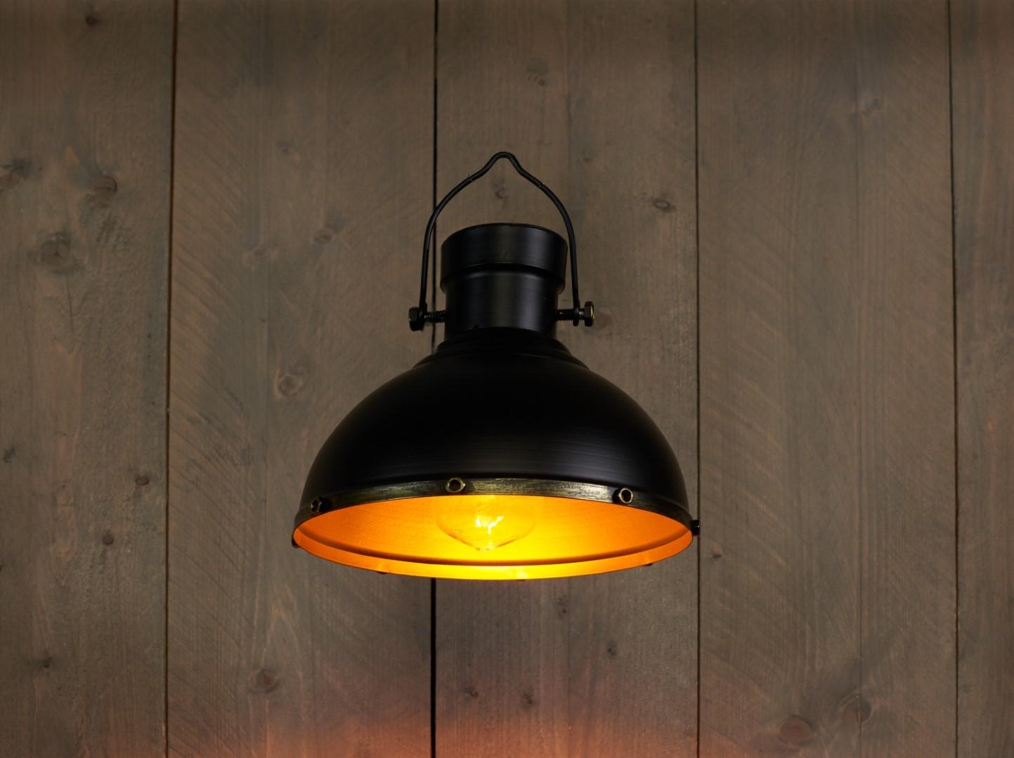 Solar retro lampenkap zwart-goud 23x23 cm