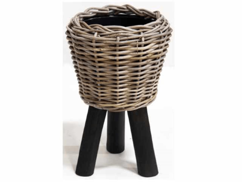 Bloempot Drypot wooden legs black 27X42 cm Van der Leeden
