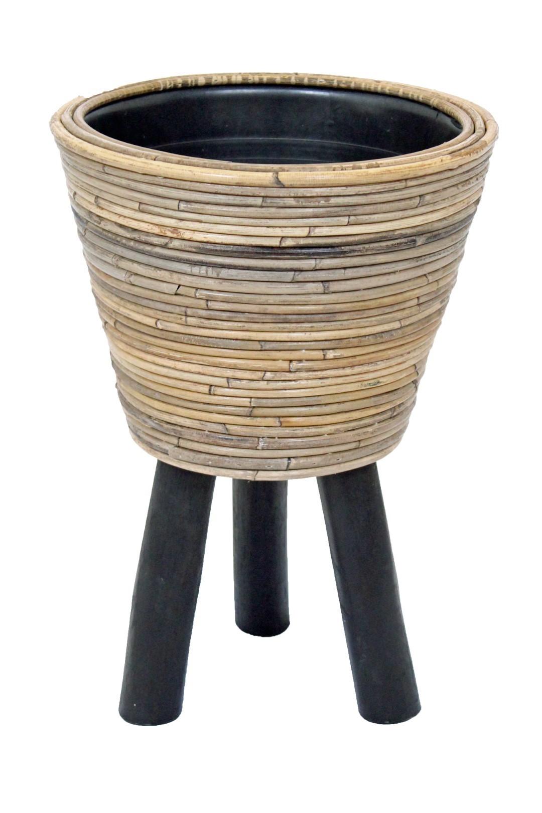 Drypot op poten streep D27H42 cm