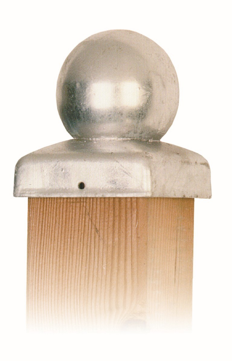 Paal-ornament bol verzinkt 91x91 mm