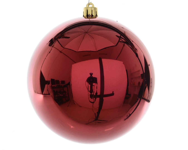 Kerstbal plastic glans/200mm/ossenbloed