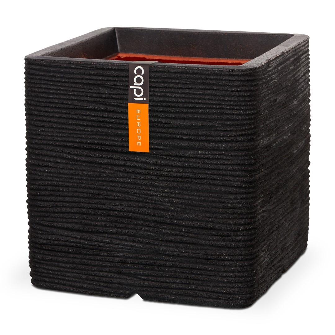 Pot vierkant rib NL 30x30x30 - zwart