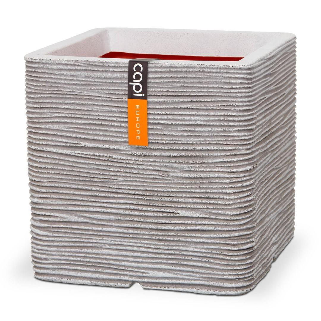 Pot vierkant rib NL 30x30x30 - ivoor