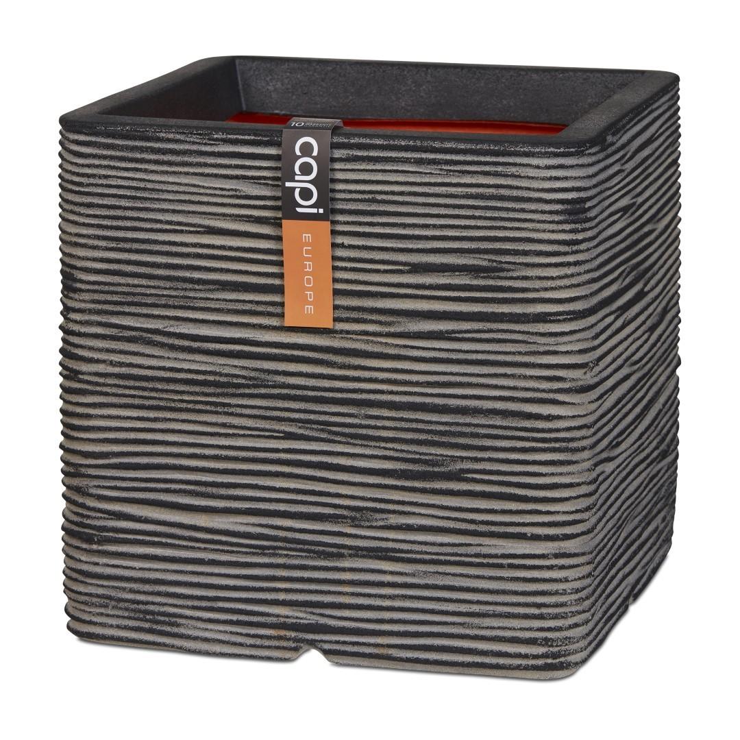 Pot vierkant rib NL 40x40x40 antraciet