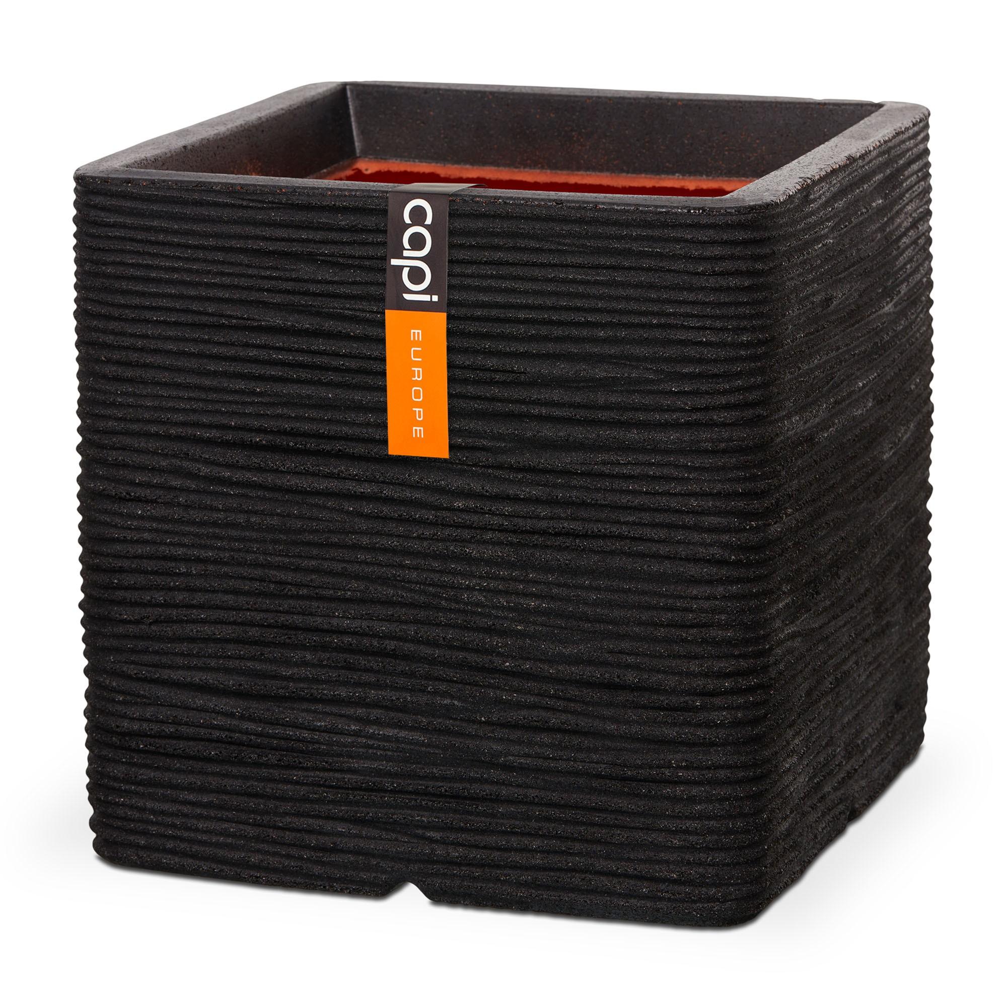 Pot vierkant Rib NL 50x50x50 Zwart