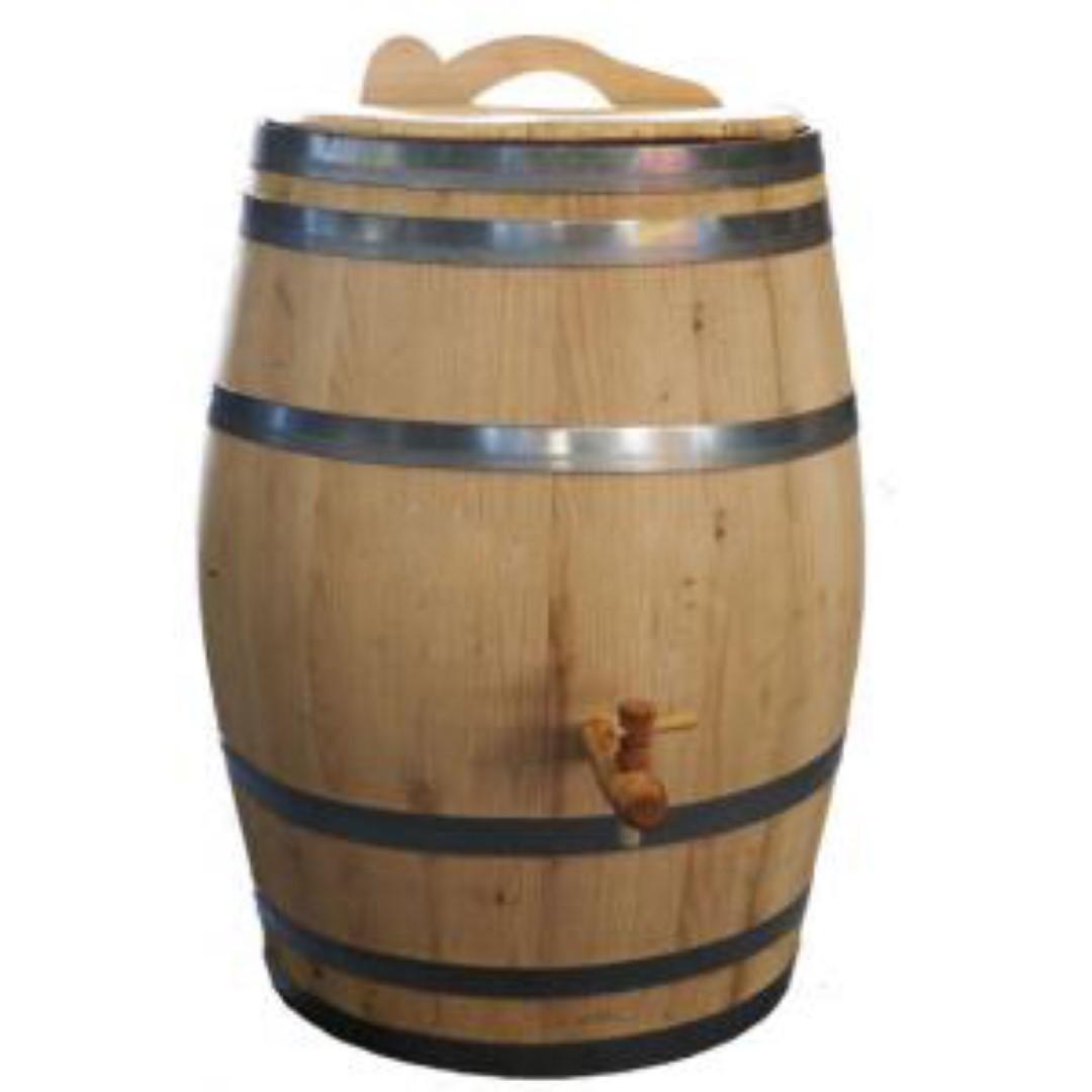 Regenton 150 liter kastanje kraan/handvat 80 cm