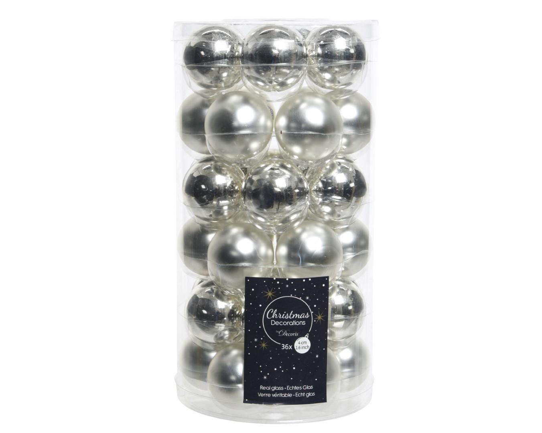 Kerstballen glas glans-mat 40mm zilver