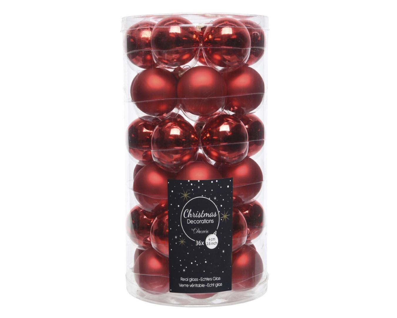 Kerstballen glas glans-mat 40mm kerstrood