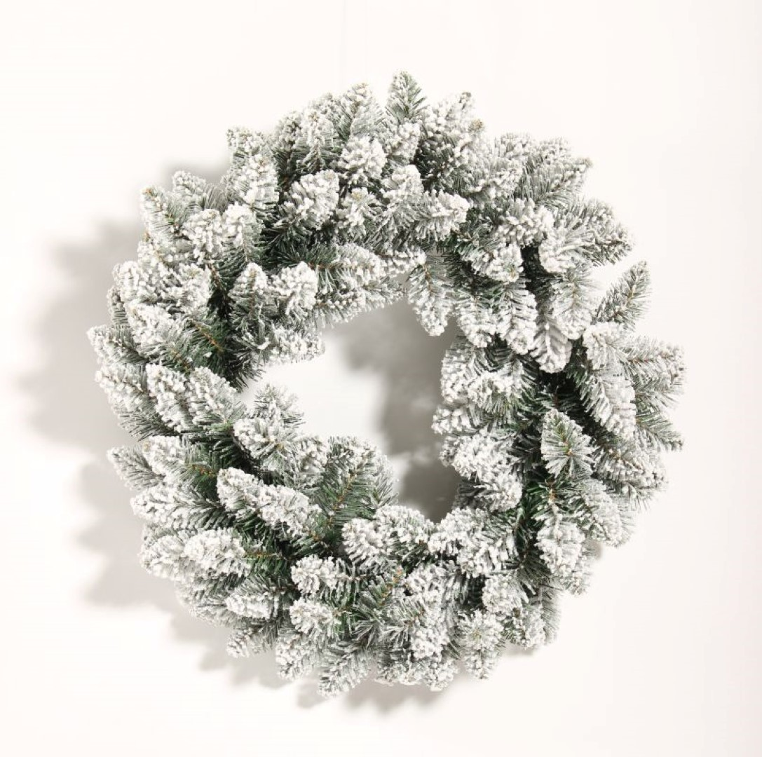 Krans groen/wit Snowhorn Frosted D45 cm