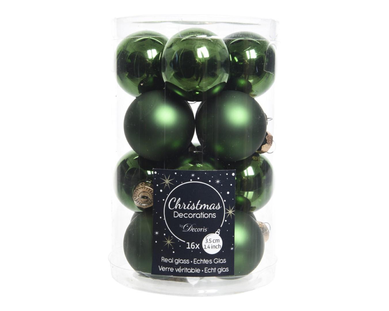 16 Glazen balletjes 35 mm dennen groen