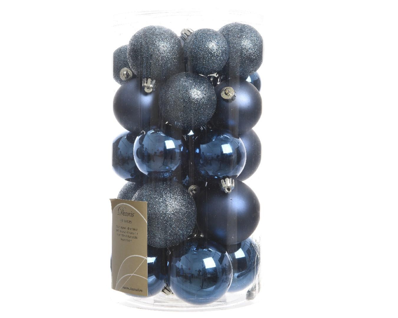 Kerstbal plastic glans-mat-glitter assorted nacht blauw KSD
