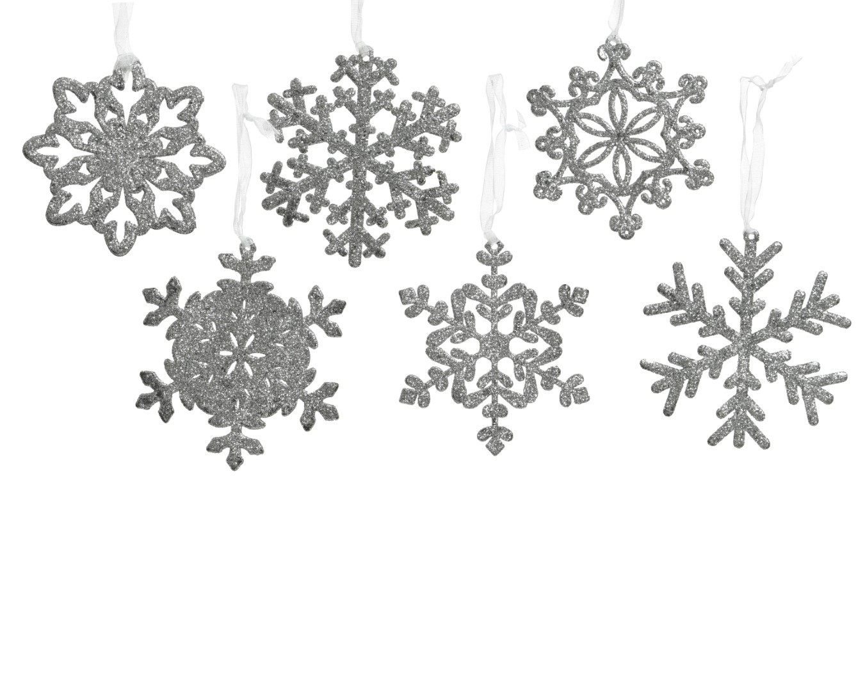 10 stuks! Sneeuwvlok plastic d10 cm zilver