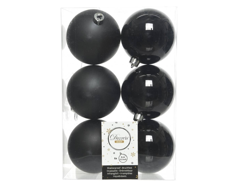 Kerstballen plastic glans-mat dia 8 cm zwart