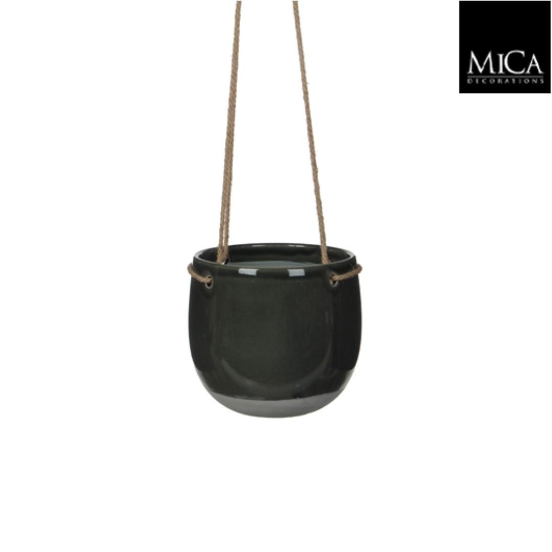 4 stuks! Resa hangpot rond donkergrijs h17xd18,5 cm Mica Decorations (e)
