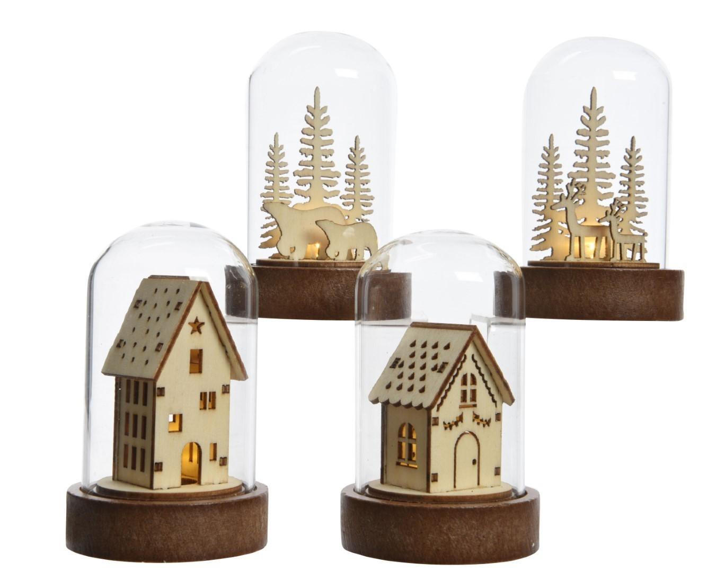 LED huis triplex glas 4ass op batterij 5,5x9 cm 1L warm wit