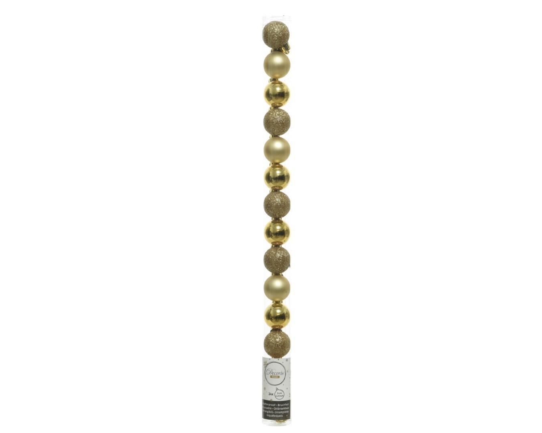 Kerstballen plastic mix dia 3 cm licht goud