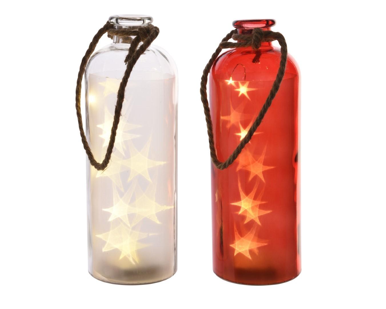 LED fles glas 2kl.ass op batterij dia 11x31 cm 10L warm wit