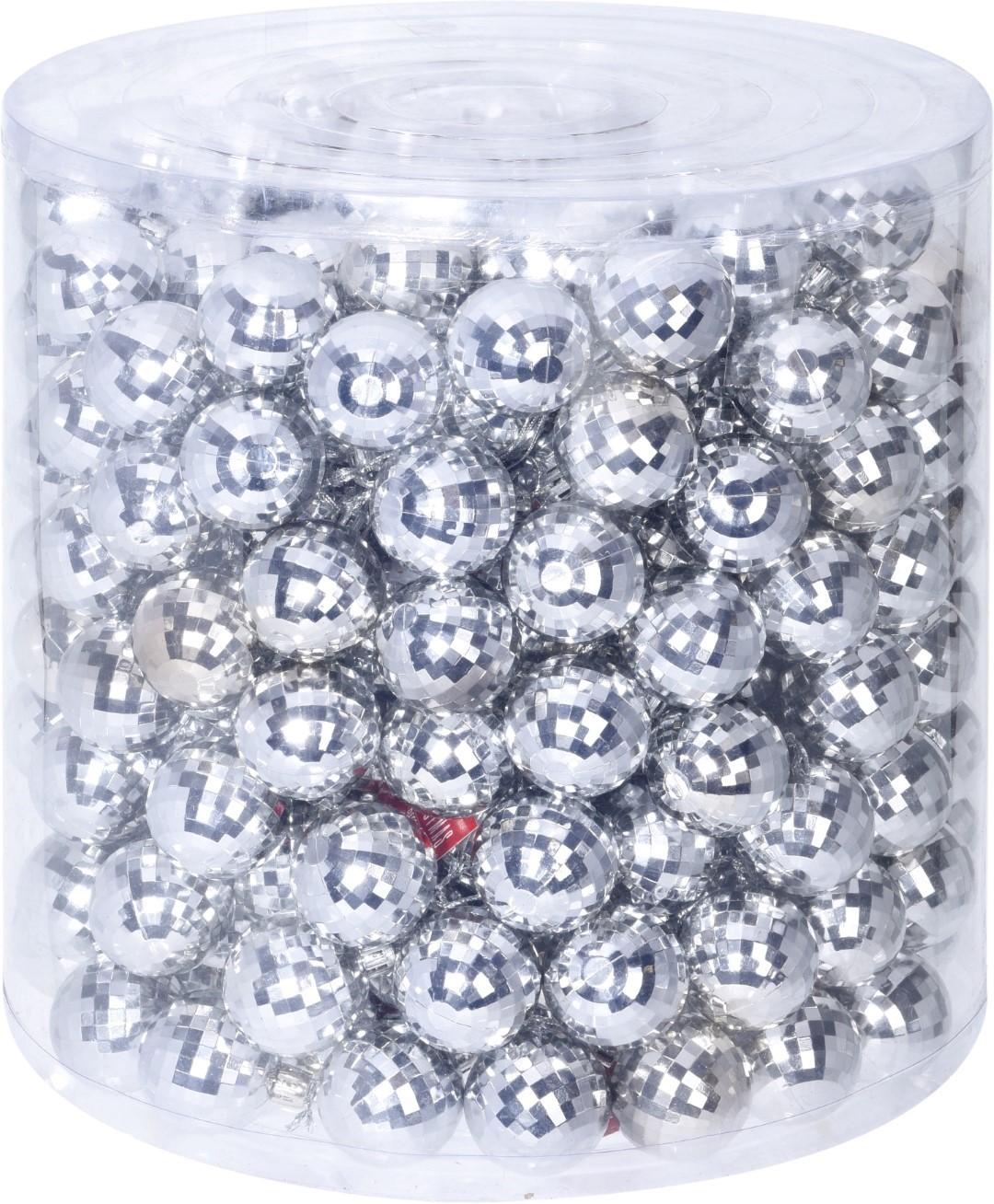 5 stuks! Kerstbal 4cm s6 zilver