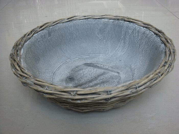 Schaal wilg en zink D38x13cm