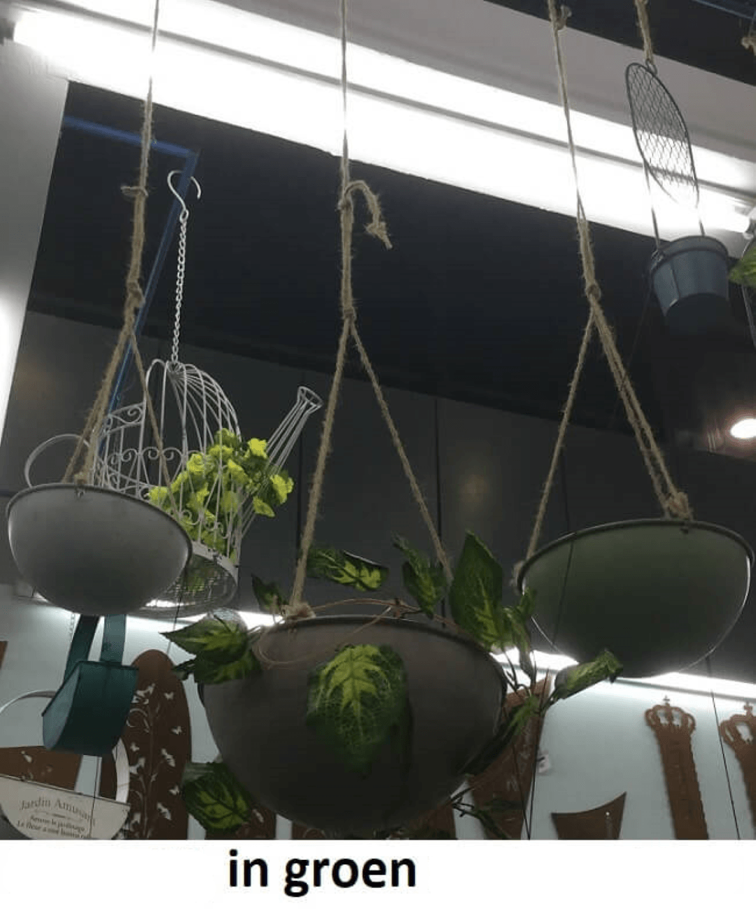Hanging basket groen Dia 22x10cm