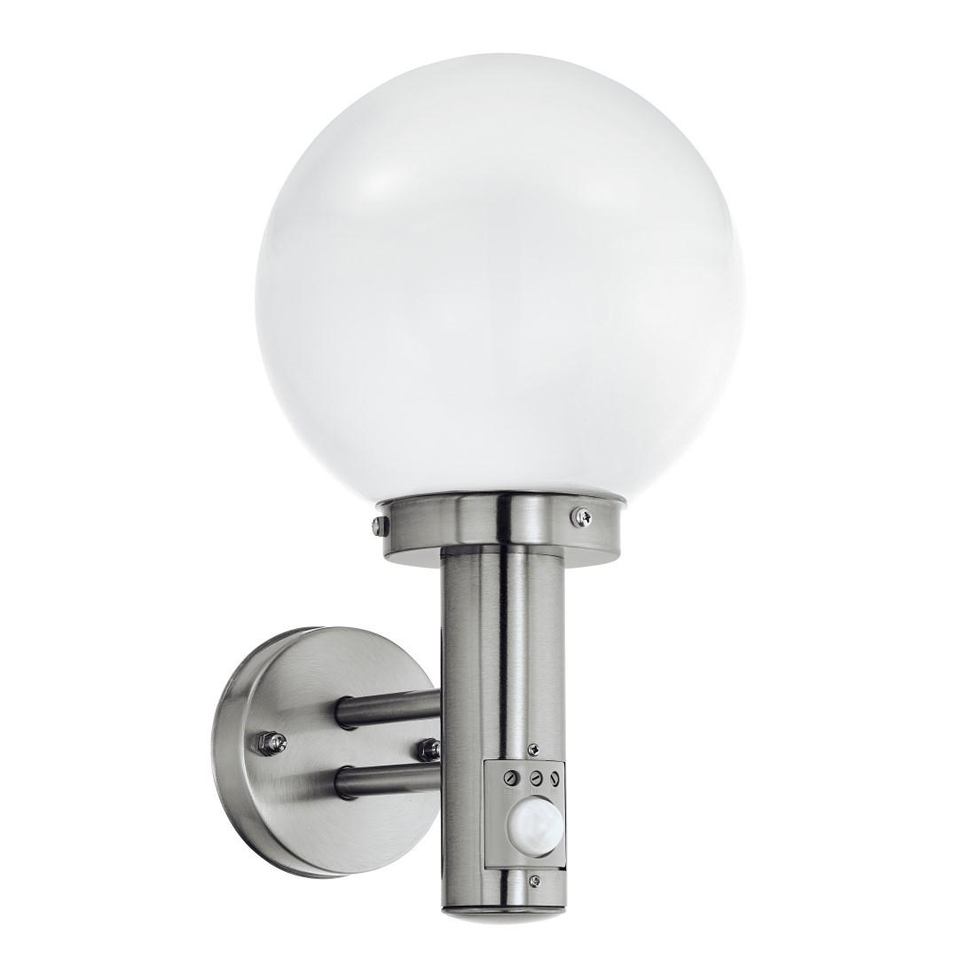 Wandlamp H-34 cm. Met Sensor RVS Opaal