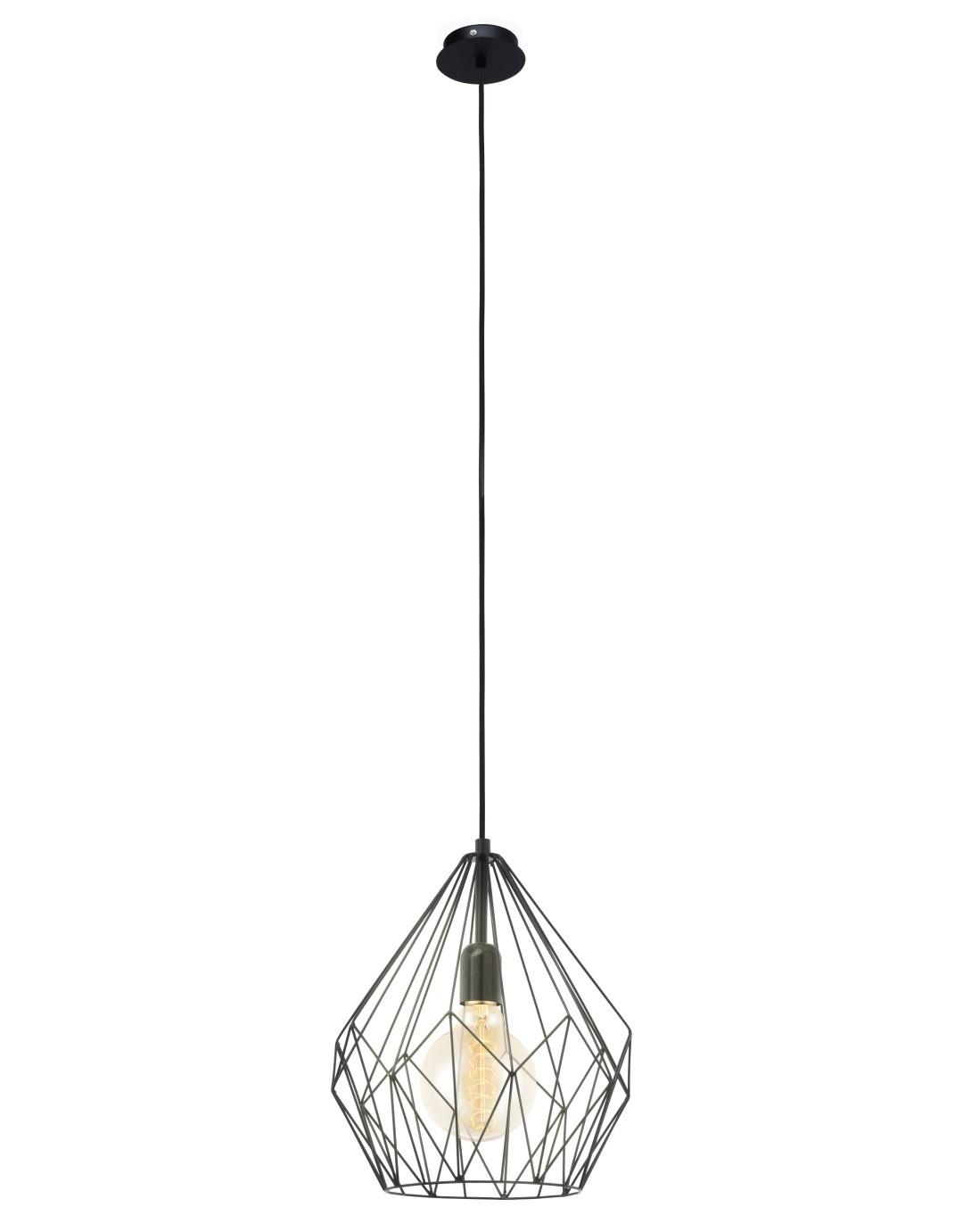 Hanglamp 1 E27 Zwart Carlton