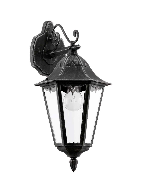 Wandlamp Neerwaarts Zwart Zilver-Patina Navedo