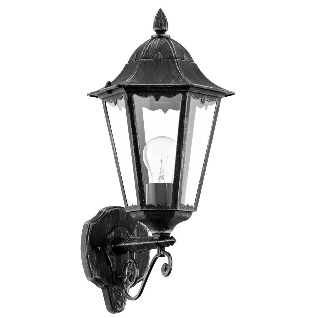 Wandlamp Opwaarts Zwart Zilver-Patina Navedo
