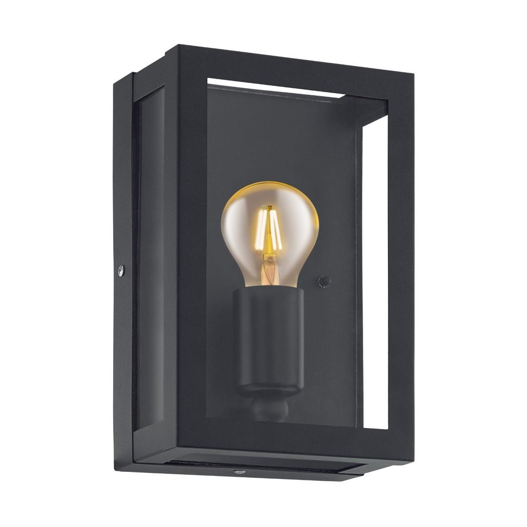 EGLO buiten-wandlamp zwart-glas Alamonte