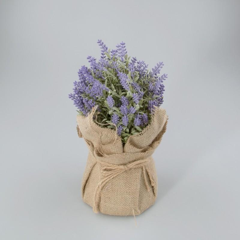 Kunst plantje lavendel in jute zak L
