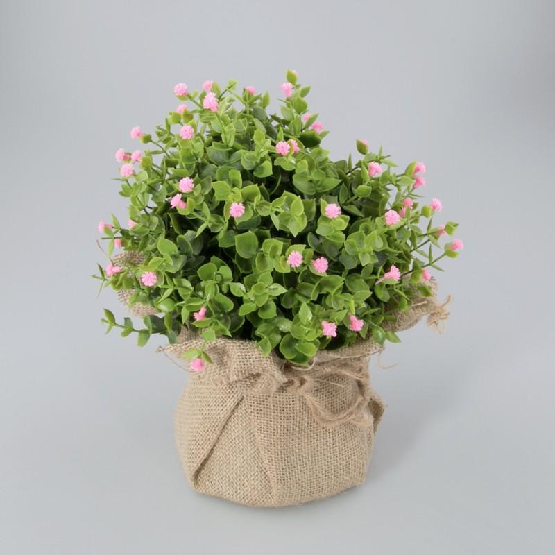 Plantje in jute zak Loes roze