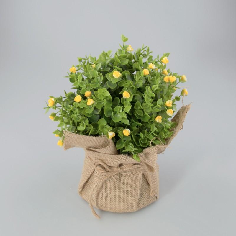 Plantje in jute zak Loes geel
