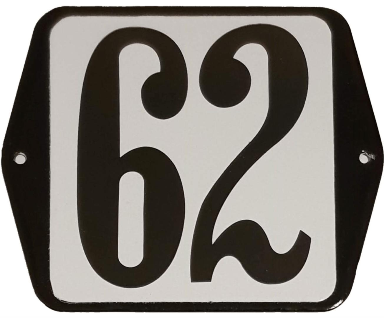 Huisnummer standaard nummer 62