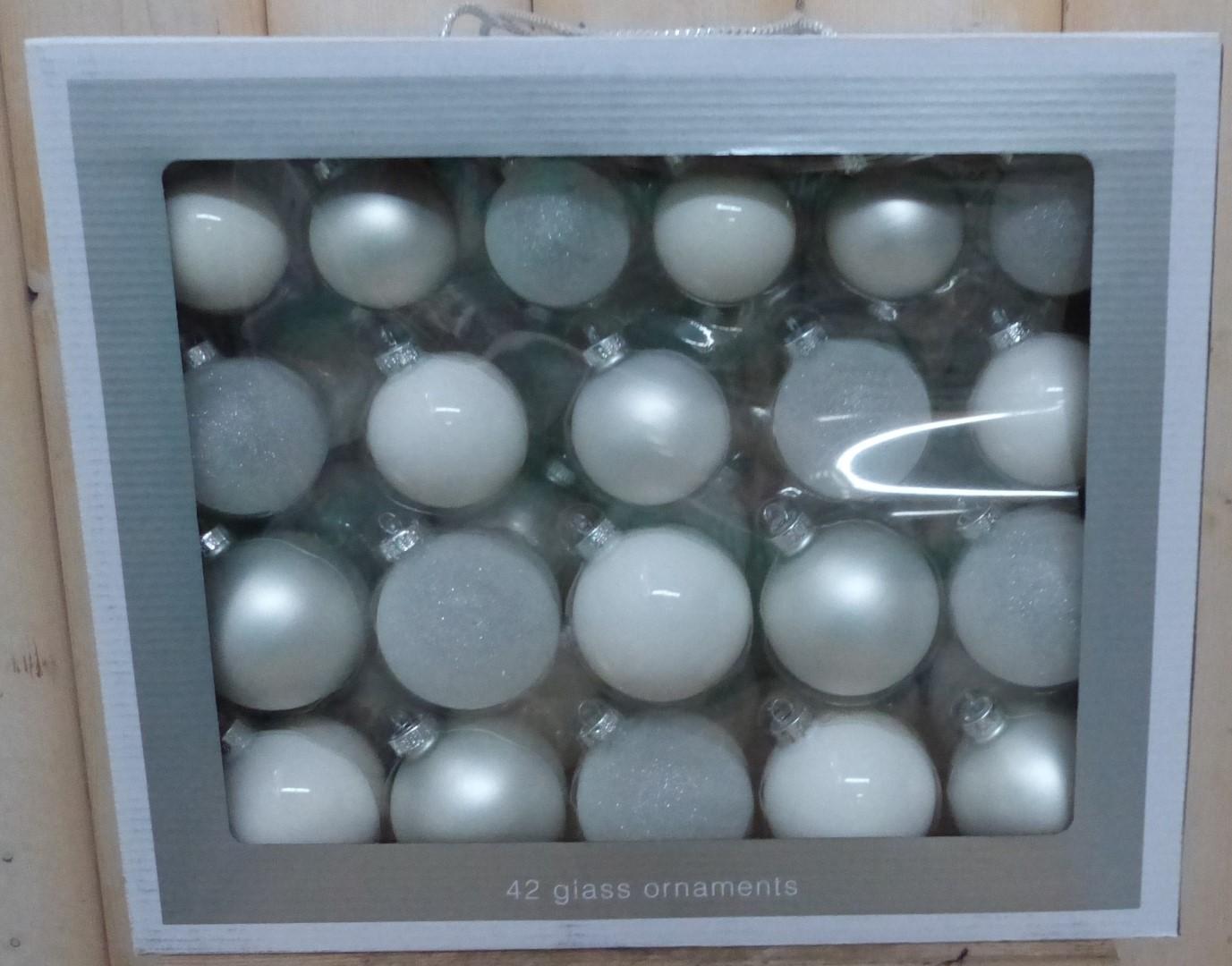 Kerstballen glas wit