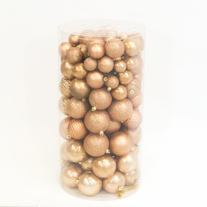 100 Onbreekbare kerstballen in koker mix camel bruin Decoris