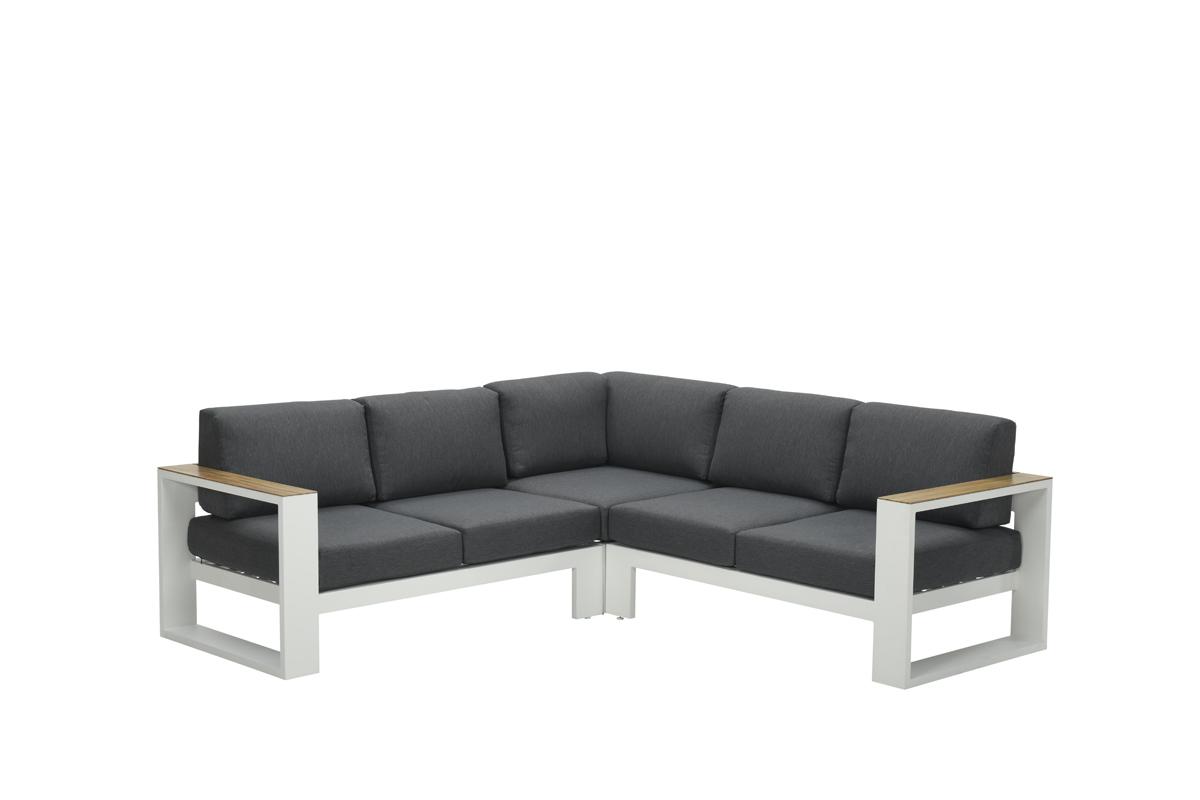Cube lounge set 3-dlg mat wit/ reflex bl/ teak look
